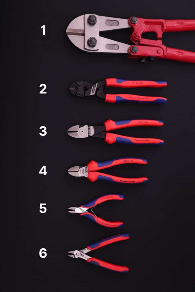 Different types of wire cutting pliers: bolt cutters, compact bolt cutters, diagonal cutters and flush cutters