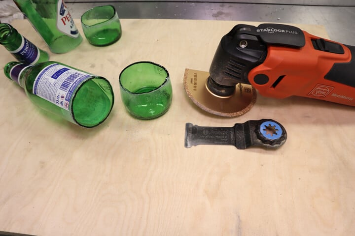 Glass bottles cut with an oscillating multi-tool