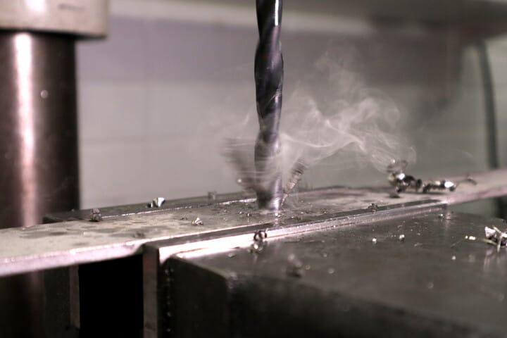 Drilling stainless steel and generated oil smoke
