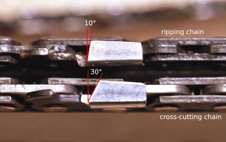 A chainsaw ripping chain and a cross-cutting chain with the lower tooth angle of the ripping chain